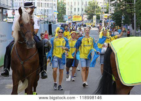 Swedish Football Fans Walk On The Streets Of Kyiv City