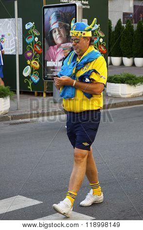 Swedish Football Fans Walks On The Streets Of Kyiv City