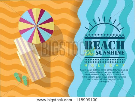 Summer beach in flat design, sea side and beach items, vector illustration. summer poster