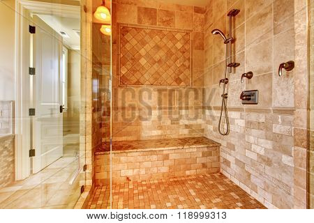 Luxury Shower In Master Bathroom.
