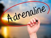 ������, ������: Man Hand Writing Adrenaline With Black Marker On Visual Screen