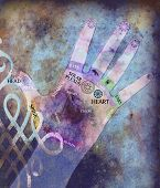stock photo of reflexology  - mixed media illustration of hands with reflexology points - JPG