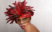 stock photo of pouty lips  - Sexy woman in mask - JPG