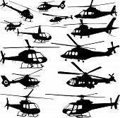 stock photo of rotor plane  - vector silhouette of different helicopters on a white background - JPG