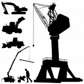 picture of construction machine  - set of construction machines illustration design vector - JPG