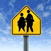 stock photo of child obesity  - obese school children obesity overweight kids diet crossing sign - JPG