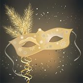 stock photo of masquerade mask  - vector illustration of a carnivale mask on an abstract background - JPG