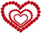 Three Hearts Of Red Roses