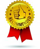 foto of recommendation  - Vector gold embossed recommended sign for web design with red ribbon - JPG