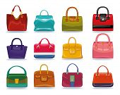 Постер, плакат: Colored female handbags set Fashion Illustration
