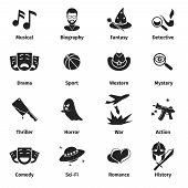 Постер, плакат: Movie genres vector icons