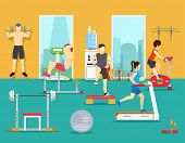 Training people in gym. Vector illustration flat style poster