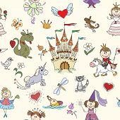 Постер, плакат: Little princess seamless pattern