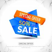 Super Big Sale paper origami banner. Sale background. Big sale tag. Sale advertising coupon. Sale co poster