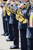 Постер, плакат: Military Brass Band Musicians With French Horns