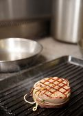 image of chateaubriand  - Tenderloin steak with bacon on grill pan - JPG