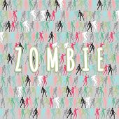 Постер, плакат: Zombie Silhouettes Set And Zombie Text Lettering Illustration Vector