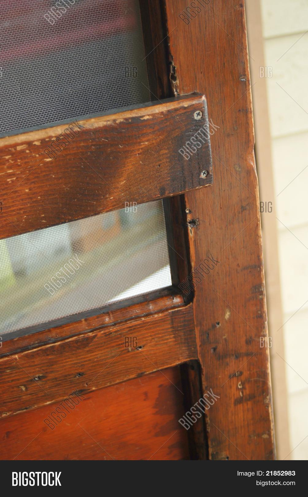 Old fashioned wooden screen door image photo bigstock