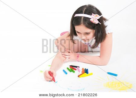 The Girl Lying Draws White Background