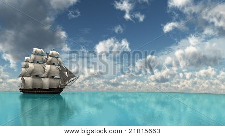 ship in tropical sea