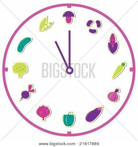 Tijd voor gezonde voeding geïsoleerd op wit.