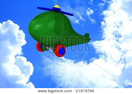 Green Helicopter With Tires Fly In Sky