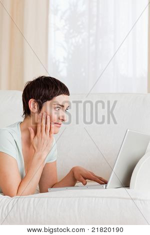 Surpised Woman Using A Laptop