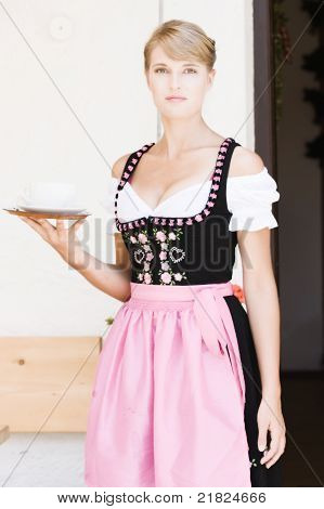 Bavarian woman in a dirndl