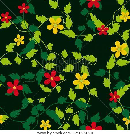 Seamless Background With Flowers And Leaves
