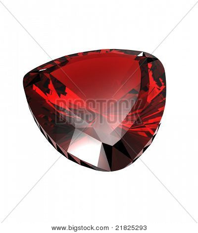 Jewelry gems shape of trillion on white background. Ruby