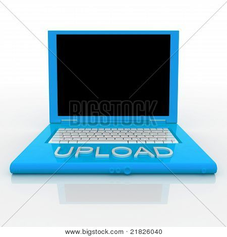 Laptop computer with word upload on it