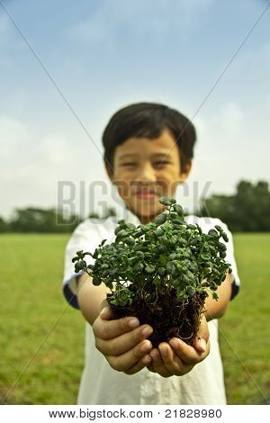 Boy Holding Plant