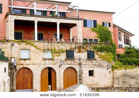 Majorca house facades at Palma de Mallorca Barrio Calatrava