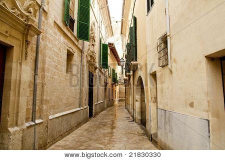Barrio Calatrava Los Patios in Majorca at Palma de Mallorca narrow street