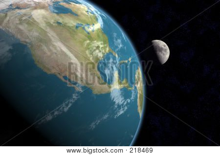 North America And Moon