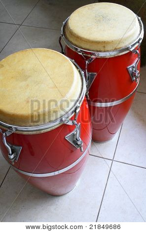 Red conga drums
