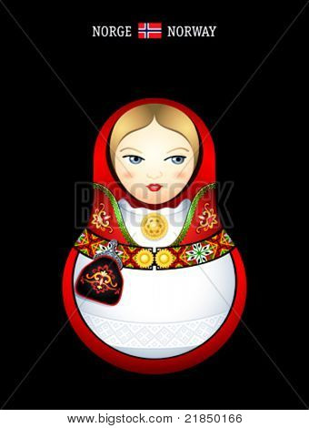 Matryoshkas of the World: norwegian girl in bunad dress