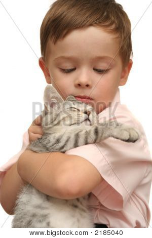 Emotions Of The Boy Which Holds On Hands Of A Grey Kitten