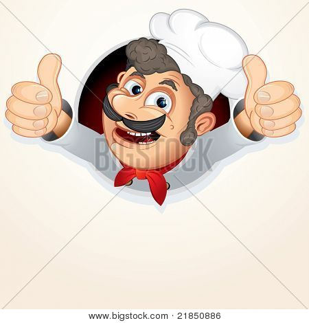 Cheerful Chef Cook, vector cartoon illustration