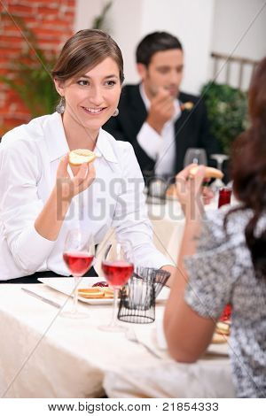 Two woman having lunch together