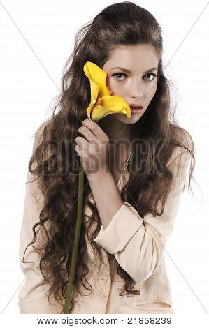 Yellow Calla And Fresh Pretty Girl