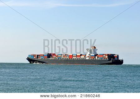 ship and container ship in harbor
