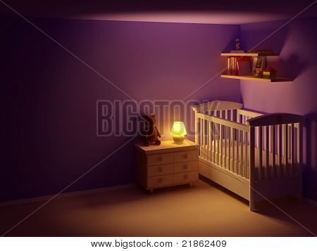 baby room at night