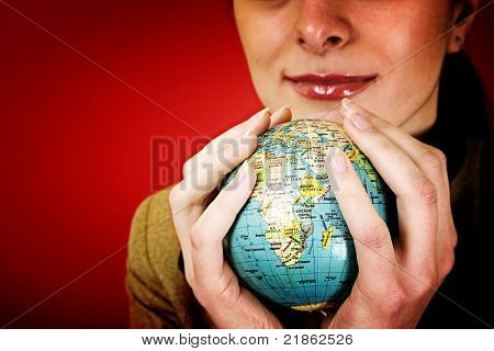 Globe In A Girl's Hands