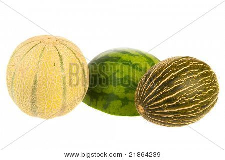 Two various melons isolated over white background