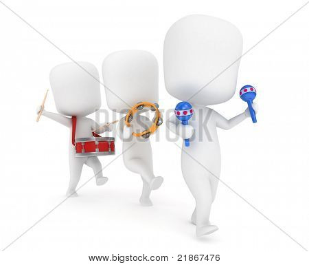 3D Illustration of Kids Parading with their Musical Instruments