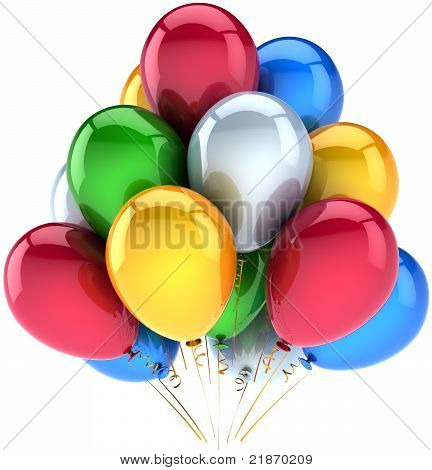 Happy birthday party balloons holiday decoration multicolor