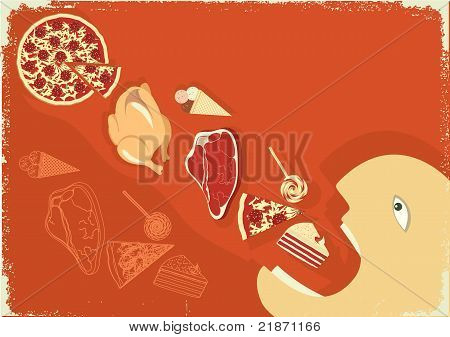 Hungry Man Eating A Lot Of Food.vector Poster