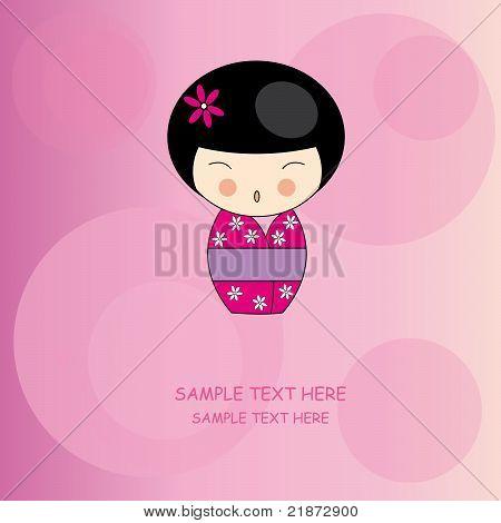 cute kokeshi girl