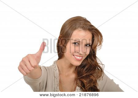 Young Woman With Thumbs Up